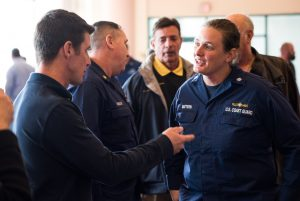 photo of Commander Heather Mattern, Chief of the USCG Inspection Division, Port of New York with attendees