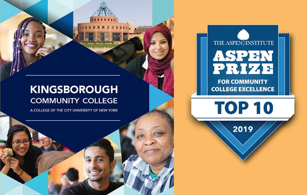 Kingsborough Community College named one of 10 finalists for the $1 million 2019 Aspen Prize for Community College Excellence, the nation's signature recognition of high achievement and performance in America's community colleges – the only community college in the Northeast to have been selected.