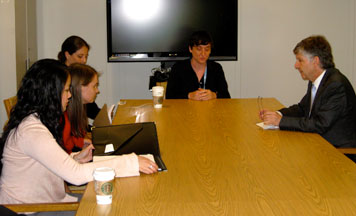 (l-r) IWHR Students April Marcus & Thyra Smith, IWHR Graduate and volunteer Nora Smiley, and Prof. Lisa Davis meet with Walter Kalin UN Representative of the Secretary-General on the human rights of internally displaced persons to deliver a the memo based on IWHR's on-the-ground investigation in Haiti.