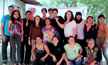 Standing (l-r): Bradley Parker, IWHR Clinic Fellow; Amanda Heikkinen, 3L; Yiffat Susskind, Executive Director MADRE; Prof. Lisa Davis, IWHR Clinic; Eduardo Jimenez, 3L; Natasha Bannan, 3L; Kadog Abdullah, 3L; with members of the Women Workers' Committee of Bárcenas. Photo credit: Bradley Parker.