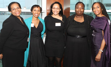 At the awards ceremony (l-r) Stephanie McGregor, Associate Director of Career Planning at CUNY School of Law; Jennifer White Reid, ABWA Scholarship Committee member; Shavon Van Horne, St. John's Law School student and scholarship awardee; Renee Smith; and Diane Gatewood, Chair of the ABWA Scholarship Committee and Past ABWA president.
