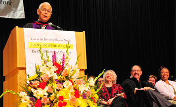 Julian Bond, 2011 commencement speaker and recipient of honorary degree. Bond helped found the Student Nonviolent Coordinating Committee (SNCC) and was the first president of the Southern Poverty Law Center. Photo by Corky Lee.