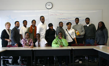 Students from Brooklyn Generation meet with Prof. Pamela Edwards, Dir. of the Center for Diversity, and CUNY Law students to talk about exploring a career path as a lawyer. Photo by Natali Kun.