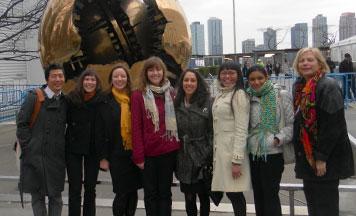 From left: Eugene Chen, Alfia Agish, Margaret O'Hora, Marita Robinson, Vivian Costandy, Angela Torregoza, Sarika Saxena, and Professor Susan Bazilli.