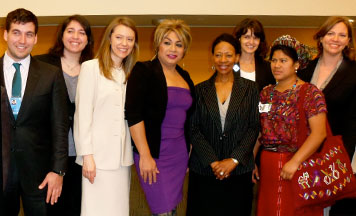 From left: Brad Parker, IWHR Clinic Fellow; Blakeley Decktor ('12); Rebecca Pendleton ('12); Johanna Ramirez, Asociación Trans Reinas de la Noche; Ms. Zonke Majodina, Chair and Member of the UN Human Rights Committee; Kelly Fay Rodriguez ('12); Ana Ceto Chavez, Coordinator of Muixil; and Lauren Dasse ('12)