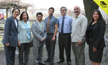 Prof. Jenny Rivera with participants Jane Bock, Mark Morodomi, Francisco Dueñas, Thomas Saenz, and Juan Cartagena, and Christine Ortiz ('13)