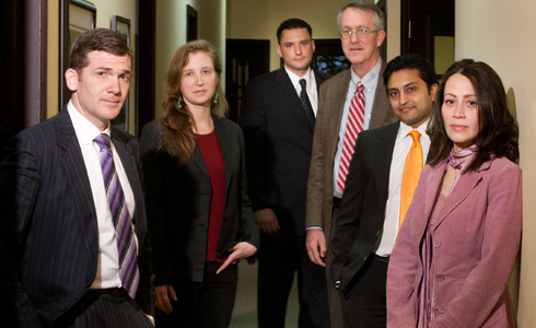 From left: Benjamin Flavin ('09), Michele Lampach ('10), Andrew Lisko ('10), CLRN Director Fred Rooney, Yogi Patel ('06), and Amy Rosa ('06)
