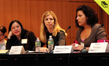 From left: Marianne Mollmann, Senior Policy Advisor, Amnesty International; Cindy Soohoo, Professor of Law and Director, International Women's Human Rights Clinic, CUNY School of Law; Caitlin Borgmann, Professor of Law, CUNY School of Law; and Monica Roa, Director of Programs, Women's Link Worldwide. Photo by Bradley Parker.