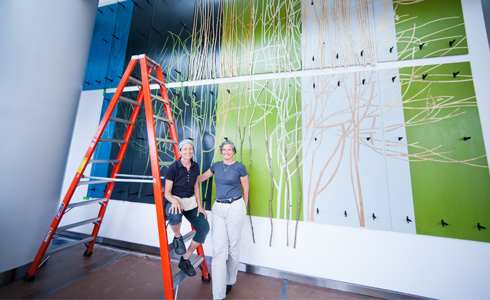 (l-r) Artists Elizabeth Billings and Andrea Wasserman
