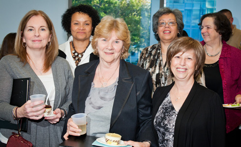 Front, l-r: Pat Kennedy, Student Affairs; Mary Nocella, Faculty Support; and Carol Kozo, Student Affairs. Back, l-r: Associate Dean Meredith Gibbs, Administration and Finance; Maggie Ruperto, Faculty Support; and Betty Tabor, Faculty Support.