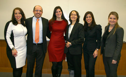 Natasha Bannan ('11) of the National Lawyers Guild, Osvaldo Burgos Pérez, Jennifer Turner, Prof. Jenny Rivera, Neysa Alsina of the PRBA, and Elena Goldberg Velazquez ('06), president of the PRBA