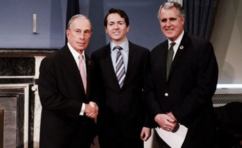 Mayor Michael Bloomberg, Nick Widzowski ('14), and Councilmember James Gennaro (Photo by William Alatriste)