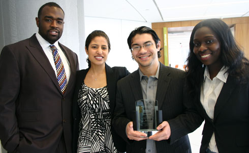 Everett Hopkins ('14), Celina Caban ('14), Andrew Lippman ('14), and Funmi Adeyeye ('14)