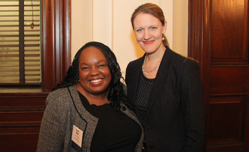Alum Paula Edgar ('06) with Dean Michelle Anderson at the New York City Bar