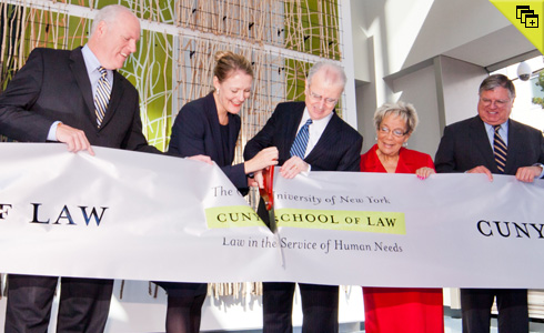 Congressman Joseph Crowley, CUNY Law School Dean Michelle J. Anderson, New York State Chief Judge Jonathan Lippman, Queens Borough President Helen M. Marshall, and CUNY Board of Trustees Chairperson Benno Schmidt