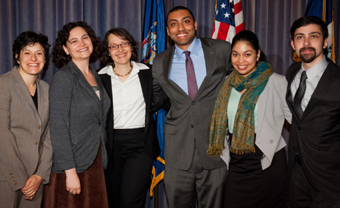 Judge Jenny Rivera with alums Rebecca Wallach ('12), Golden McCarthy ('12), Jamaal Bailey ('12), Giamara Rosado ('12), and Nikolay Pogosov ('12)