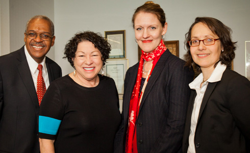 Hon. Ronald Ellis, U.S. Supreme Court Justice Sonia Sotomayor, CUNY Law Dean Michelle J. Anderson, and Judge Jenny Rivera