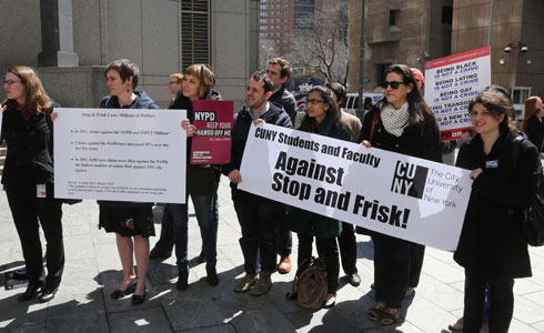 CUNY Law students demonstrating in solidarity with the plaintiffs suing the city over the NYPD's Stop-and-Frisk Program. (Photo by Jefferson Siegel)