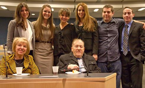 Ruth and Jack Gruener with JLSA members Natalie Saidi ('13), Robin Blumenkranz ('13), Sandra Baum ('13), Milana Pinkhasova ('13), David Sforza ('13), and Allen Shoikhetbrod ('13)