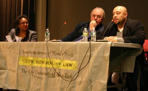 (L-R) Professor Natalie Gomez-Velez, Adjunct Professor Jonathan Moore, and Raymond Santana