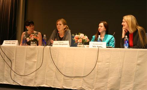 (L-R) Amanda Allen ('08), Prof. Caitlin Borgmann, Assemblywoman Nily Rozic, and Dean Michelle J. Anderson