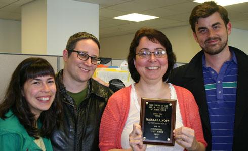 Alfia Agish ('13), Wade Schreiber ('13), Barbara Kopp, and Luke Schram ('13)