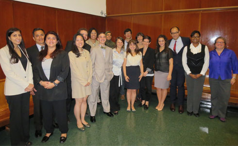 photo: In October, this year's newest fellows gathered in New York County Housing Court to begin an intensive training and mentoring in-court program for law graduates before beginning to work with their clients.