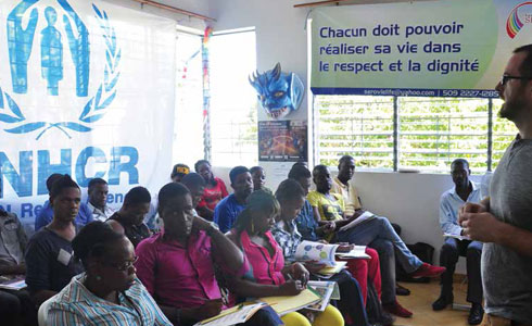 photo: Students in the International Women's Human Rights Clinic lead know-your-rights trainings for LGBT and women's organizations on enforcing international human rights standards in Haiti