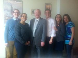 Joseph Schofield ('15); Roxanna Henry, WRI Legal Advocacy Organizer; Senator Tony Avella; John Guyette ('15); Sharon Miodovsky ('15); and Claudia Vargas, Hunter College student.