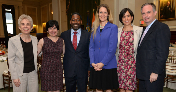 Debra Raskin, president of the New York City Bar Association, Natalia Martin, Joseph Drayton, Michelle Anderson, Karla Sanchez, and Bret Parker, executive director of the New York City Bar Association