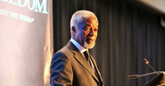Former United Nations Secretary-General Kofi Annan delivers the keynote address.