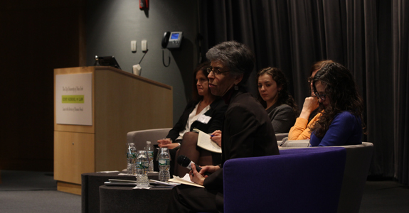 Jacqui True, Laila Alodaat, Liesl Gernholtz, Jessica Stern and Julie Goldscheid listen to a question from the audience.