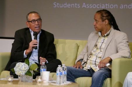 Gerald Lefcourt and Jamal Joseph speak to students.