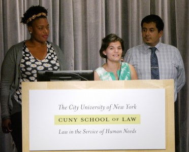 Lelia James ('17) of BLSA, Maria Amor ('17) of CUNY-NLG and Jorge Gomez ('17) of LALSA introduce the event.