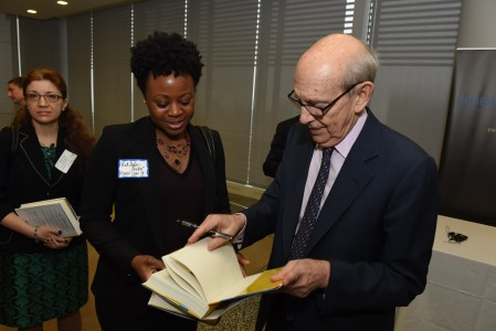 Radiyah Abdus-Shakur ('17) gets her copy of Justice Breyer's book signed, while Tatyana Segal ('16) waits.