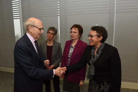 Justice Breyer with CUNY Law faculty Julie Goldscheid, Andrea McArdle and Natalie Gomez-Velez (left to right)