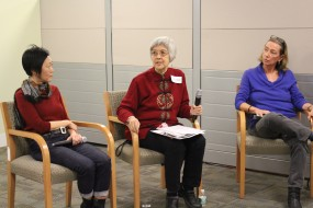 (from l-r): CUNY Law prof. Shirley Lung, retired union rep. May Ying Chen, and CUNY Law prof. Ruthann Robson