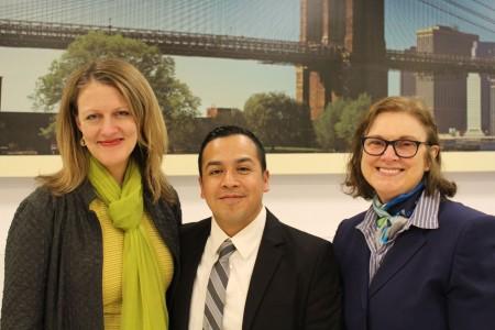 Dean Michelle J. Anderson, Cesar Vargas ('11), Prof. Janet Calvo