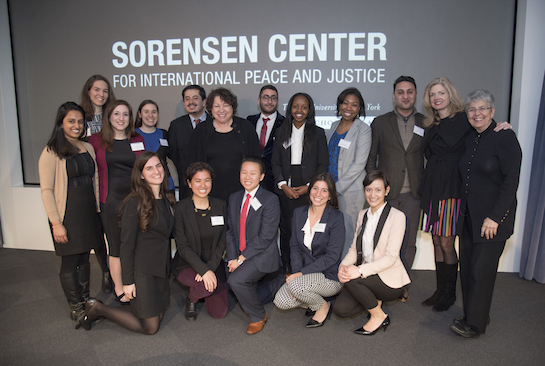 Justice Sotomayor, Judge Barkett (far right), and Sorensen Center Executive Director Camille Massey (2nd from right) pose with CUNY Law students.