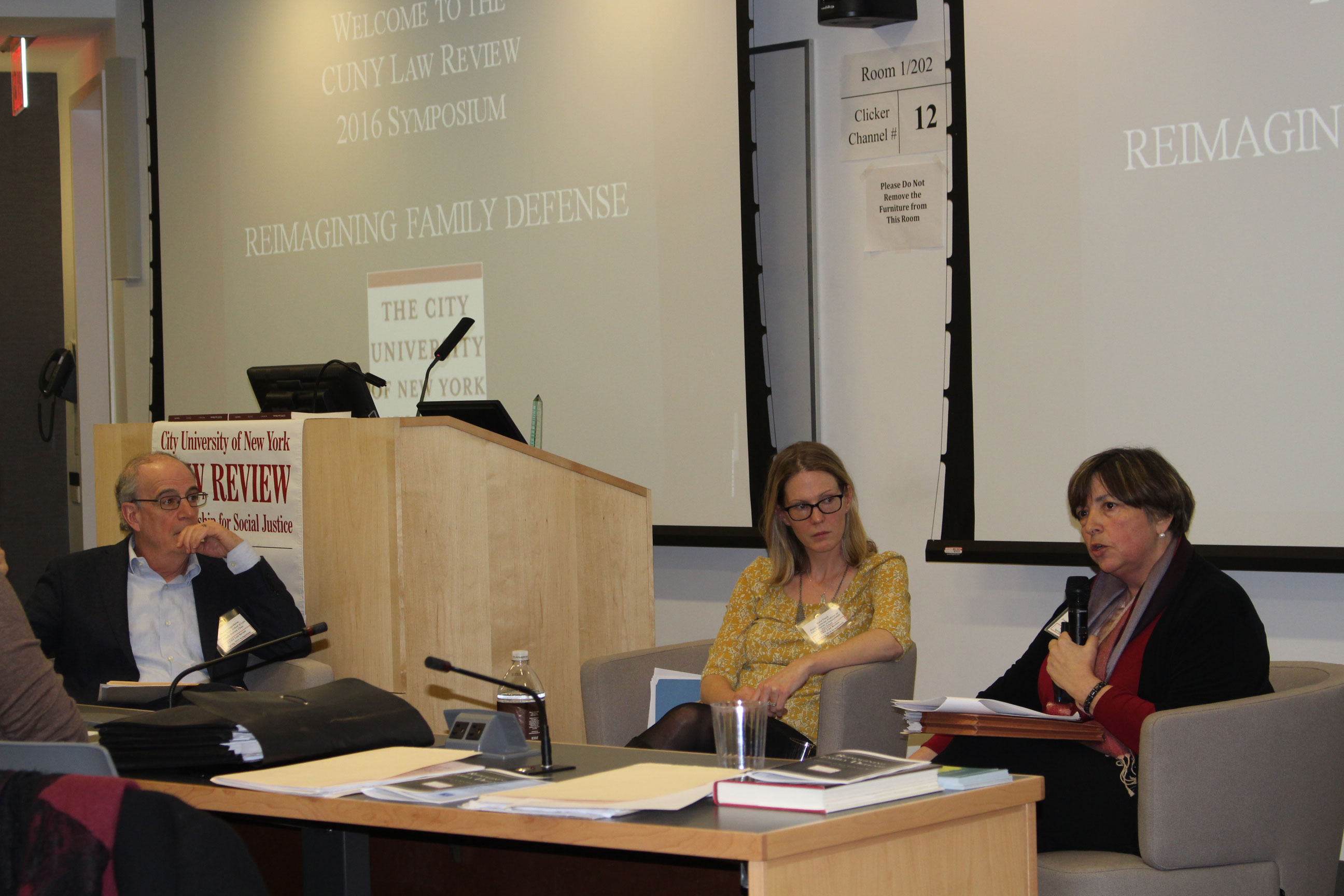 Marty Guggenheim of NYU Law, Kara Finck of Penn Law and Diane Redleaf of the Family Defense Center discuss innovative models of family defense.
