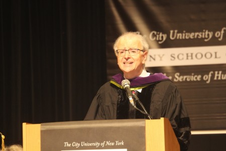 "Judge Lippman urged students to ""pursue justice""."