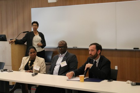 "Cheryl Howard, Marcia Cantarella of Hunter College BMI, Jermaine Wright, CUNY BMI director and Ryan Dooley ('09) in the ""Undergraduate Academic Support's Focus on Diversity: Learning from Our Heritage"" panel"