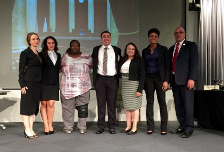 (From left to right: Abigail Downs, Juliet Critsimilios, Renee Smith, Michael Perez, Judge Nelida Malave-Gonzalez, Jasmine Brock, & Judge Andrew Tarantino.)
