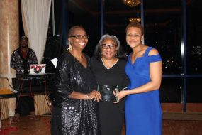 Prof. Pamela Edwards, Angela Joseph, director of financial aid at CUNY Law and Jasmine Brock, BLSA president