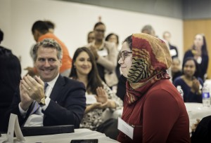 CUNY-wide Conference on Prestigious Scholarships. LaGuardia Community College. Chancellor JB Milliken applauds Conference Speaker Zujaja Tauqeer, a CUNY grad and Rhodes Scholar. 11/13/2015