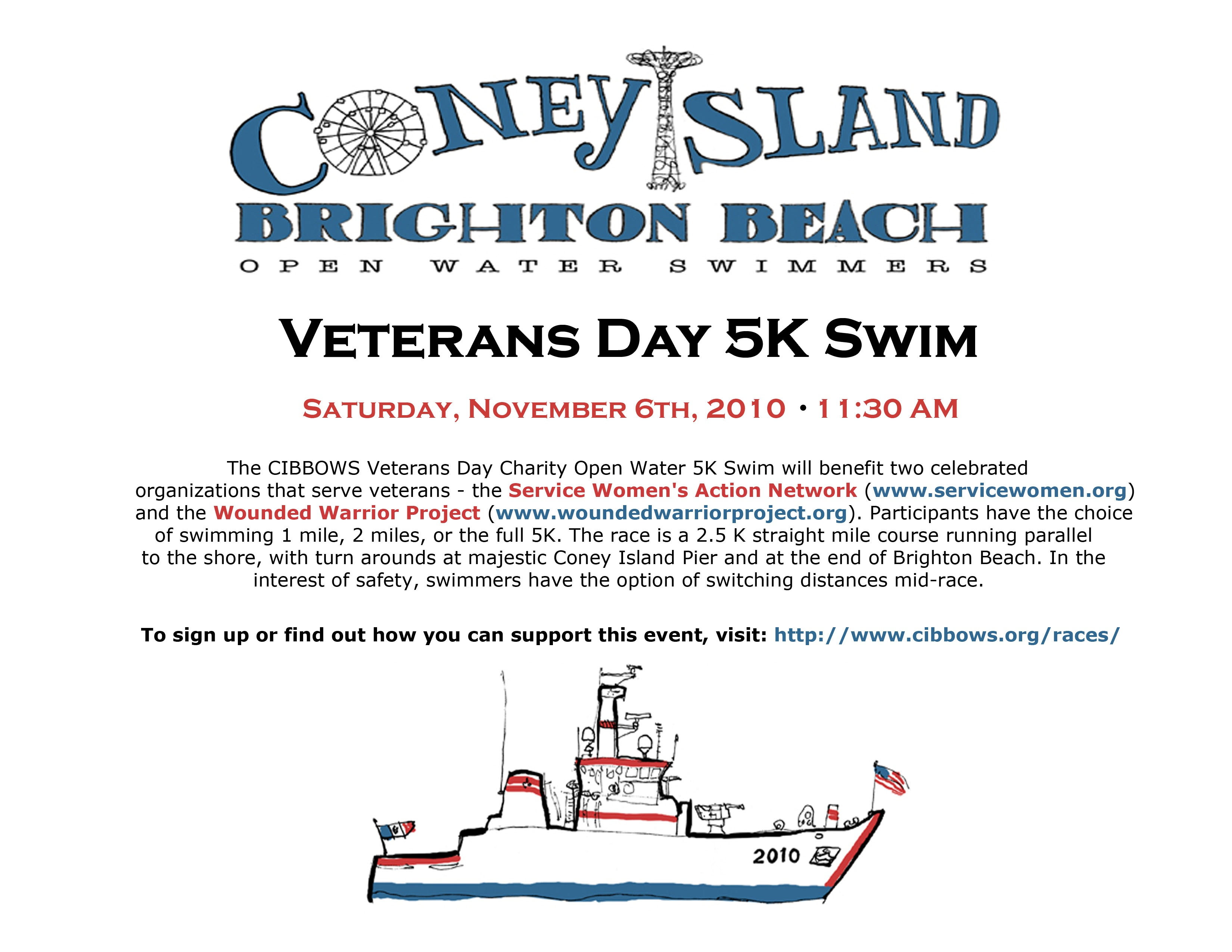 Veterans 5K Swim, Saturday, 11/6/10, Coney Island, 11:30am
