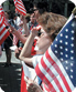 women with usa flag