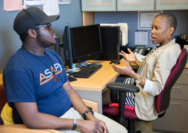 CUNY ASAP student meeting with an ASAP Advisor