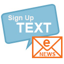 "Text bubble with the words ""sign up text"" and an envelope with the words ""e-news"""