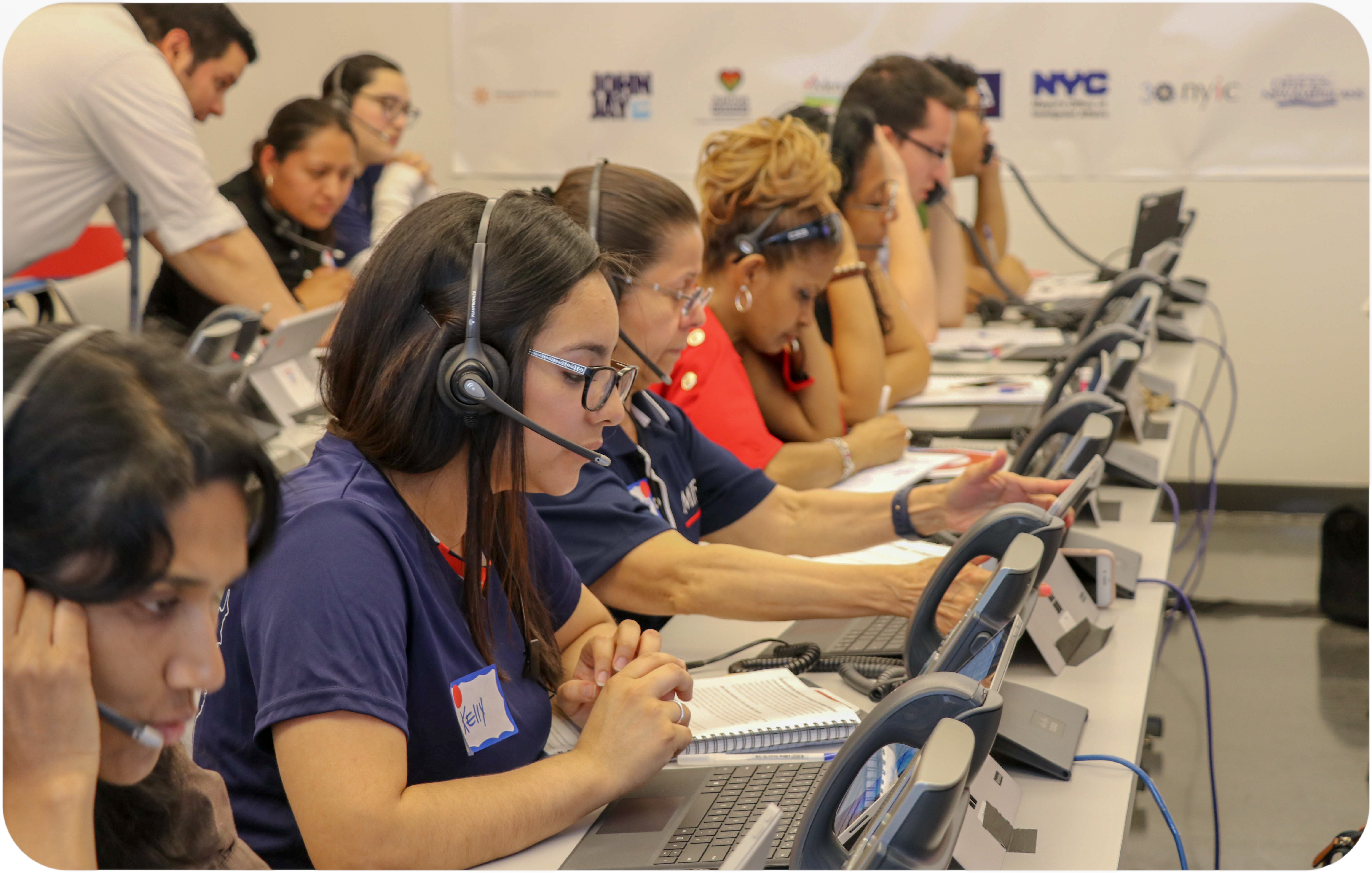 Volunteers answer phones during our call-in 2017